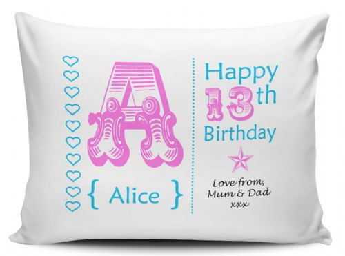 Personalised Any Name & Any Message 13th-60th Birthday Pillow Case - Pink